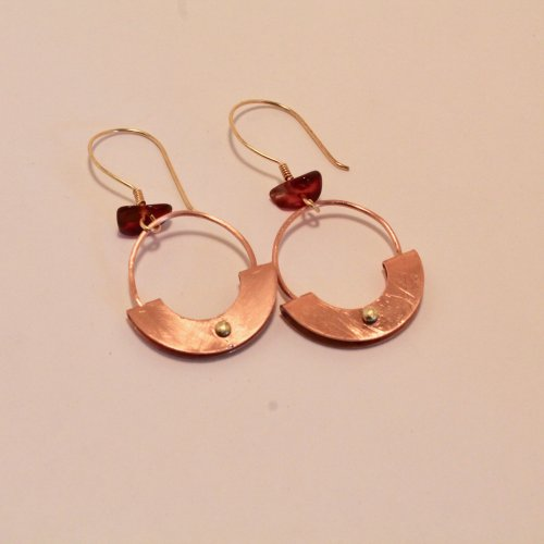 Judy Freyer Thompson's Mezzaluna Earrings - , Metalwork, How To Punch Holes, Hole Punching, Punch A Hole, Jump Rings, Jump Ring, Making Jump Rings, Loops, Wire Loop, Wrapped Wire Loop, Riveting, Riveting Techniques, Wire Rivets, mezzaluna earrings