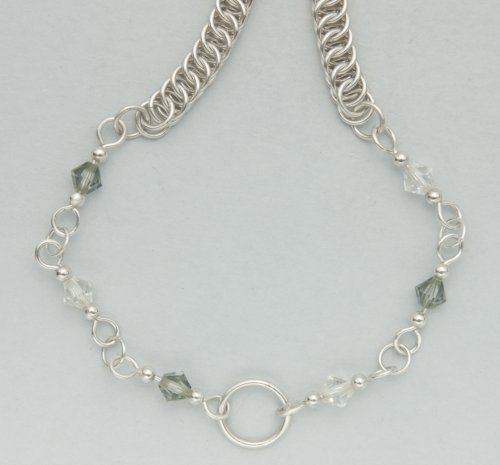Kylie Jones's Swarovski Crystal Necklace with Half Persian 4 in 1 chain maille.  - , Chain Maille Jewelry, Making Chain, Chain Making , connect the chain maille