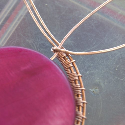Deborah Kelly's Woven Shell Coin Pendant - , Wire Weaving, Weaving, Wire Weaving, Weaving Wire, shell coin pendant