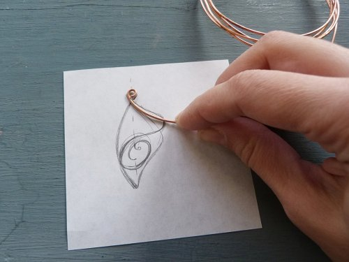 Oksana Truhan's Butterfly Wing Copper Pendant - , Contemporary Wire Jewelry, Forging, Forging Jewelry, Jewelry Forging, Weaving, Wire Weaving, Weaving Wire, butterfly wing pendant
