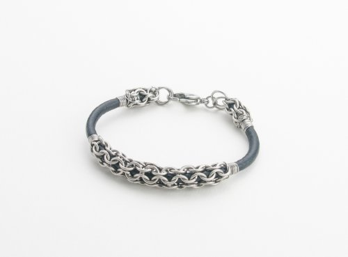 Leather and Chain Maille Bracelet