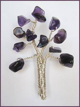 Tree Pin with Gem Chips