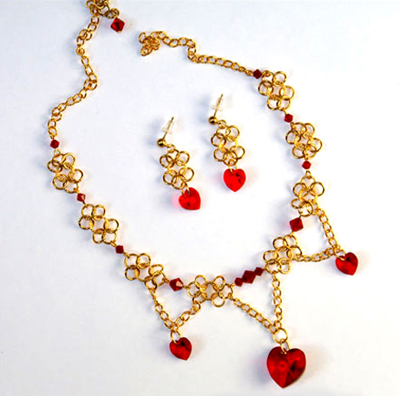 Chained Hearts Earring and Necklace Set
