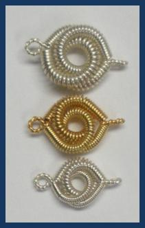 Judy Larson's Coiled Rosette Link, Findings & Components, Toggles & Clasps, Earwire & Headpin. Coiling, Coiling Wire, Wire Coiling, Findings, Clasps, Components, Loops, Wire Loop, Wrapped Wire Loop, Spirals, Wire Spiral, Spiral Wire Wrap. .