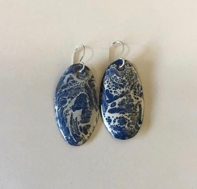 Torch Fired Crackle Enamel Earrings