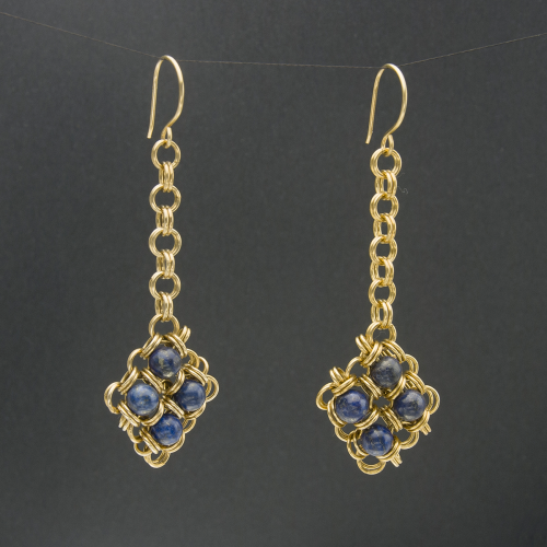 Lapis and Brass Chain Maille Diamond Earrings