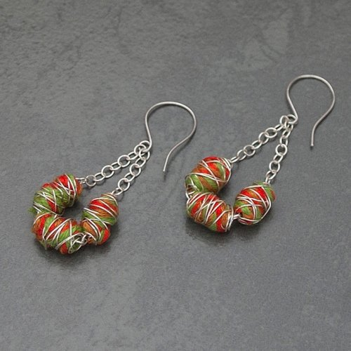 Vibrant Wrapped Cotton Earrings