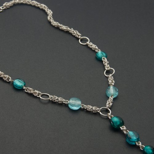 Kylie Jones's Byzantine Chain Maille Long Beaded Necklace