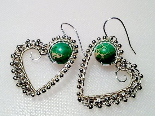 Silver Beaded Heart Wire Earrings
