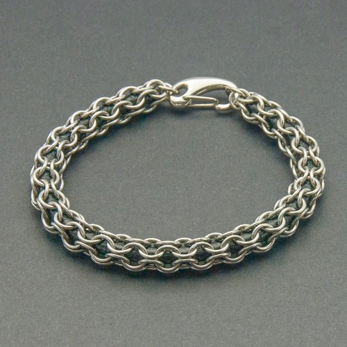 Kylie Jones's Stainless Steel Round Maille Leather Bracelet, Chain Maille Jewelry. Making Chain, Chain Making . Round maille is probably my favorite chain maille weave because it is hollow and you can capture leather, ribbons, beads or other treasures within it.