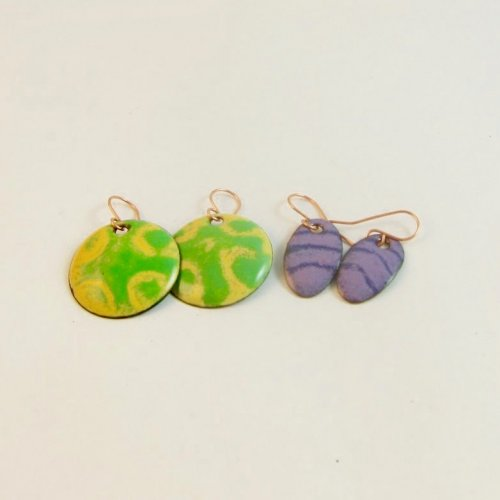 Torch Fired Sgraffito Earrings