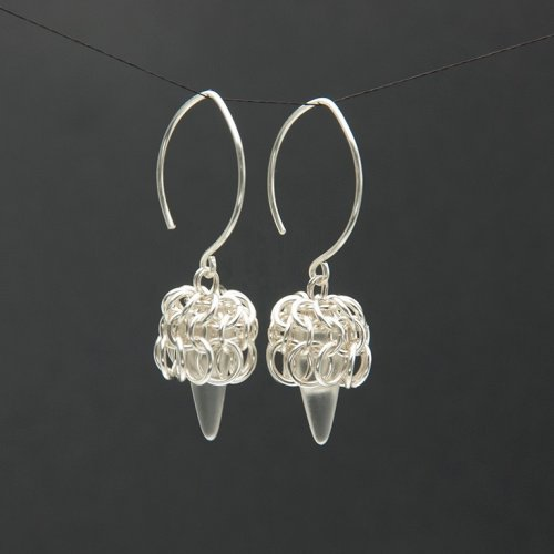 Chain Maille Czech Glass Spike Earrings.