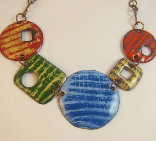 Mesh Stenciled Enamel Necklace