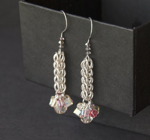 Kylie Jones's Full Persian chain maille earrings with bright crystals., Chain Maille Jewelry. Making Chain, Chain Making . These crystal colors are full of light and remind me of a summer fair.