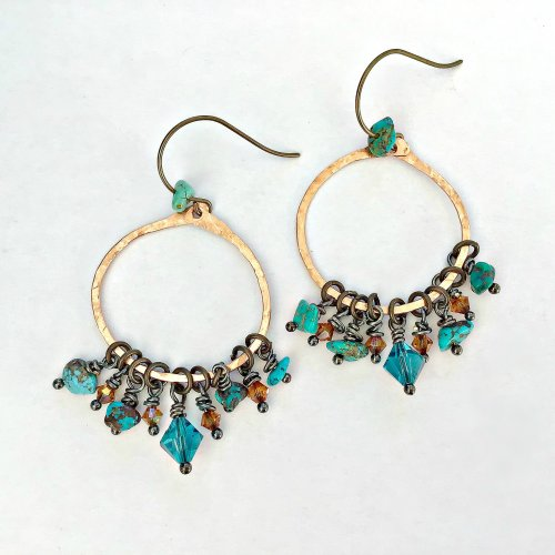 Kristal Wick's Vintage Turquoise Earrings, Contemporary Wire Jewelry. Forging, Forging Jewelry, Jewelry Forging, How To Punch Holes, Hole Punching, Punch A Hole, Loops, Wire Loop, Wrapped Wire Loop. I love the Boho look and mixing metals is an easy way to achieve the effect.