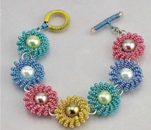 Coiled Wire Daisy Bracelet