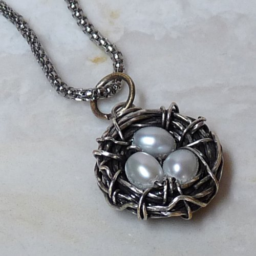 Bird's Nest Pendant and Matching Earrings