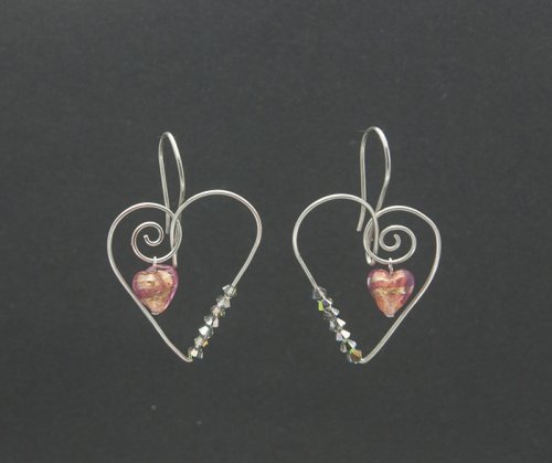 Murano glass wire heart earrings.