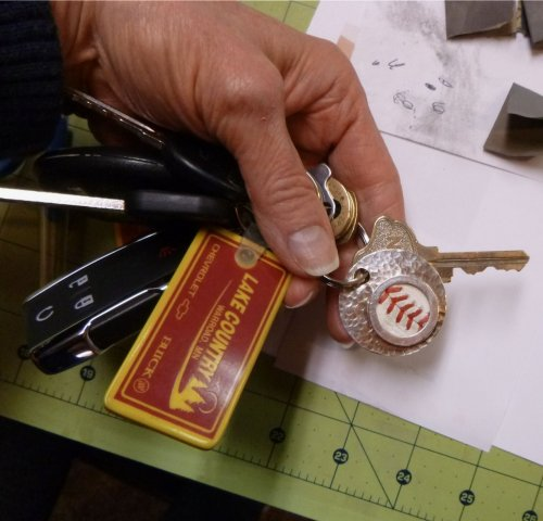 Judy Larson's Baseball Skin Keychain, Hair Accessories, Zipper Pulls, Christmas Ornaments. Cutting, Cutting Tool, Cutters, Filing, Finishing, Drilling, Drill. A while back, I was super lucky to obtain two practice baseballs used by my son's favorite baseball team.