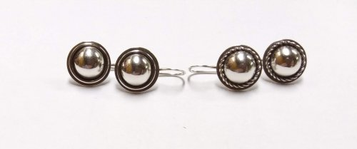 Judy Larson's Pat's Silver Domed Earrings, Metalwork. Dapping, Dapping Jewelry, Filing, Finishing, Drilling, Drill, . Several years ago, I noticed a pair of bezel set pearl earrings on French hooks my friend Pat wore quite often.