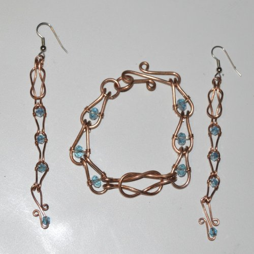 Love Knot Chain Bracelet and Earrings