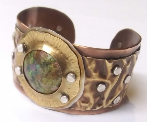 Fold Formed Cuff With Faux Roman Glass or Coin Cabochon