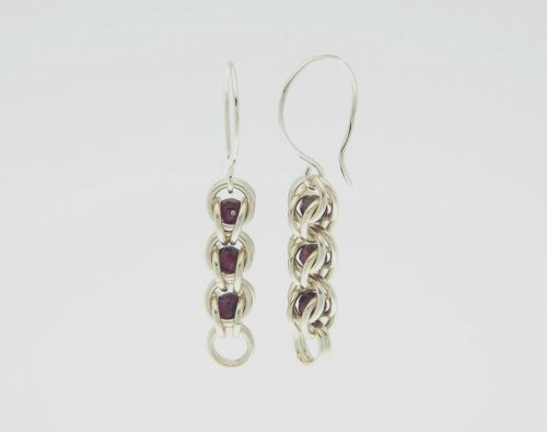 Garnet Chain Maille Earrings