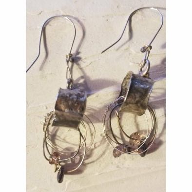 Reticulated Sterling and Wire Earrings