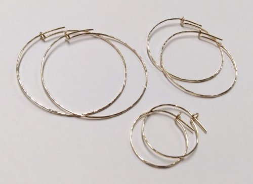 Judy Larson's Kat's Wire Hoop Earrings, Contemporary Wire Jewelry. Filing, Finishing, Texturing, . My daughter gets more compliments on these simple gold-filled elegant thin hoop earrings than any I have ever made for her.