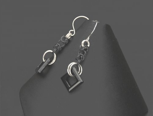 Byzantine Chain Maille Swarovski Crystal Earrings