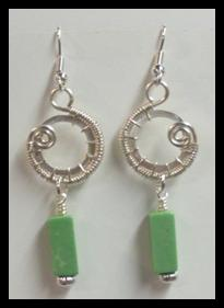 Judy Larson's Snail Trail Spiral Earrings, Contemporary Wire Jewelry. Wire Wrapping, Wrapping, Wire Wrapping Jewelry, Weaving, Wire Weaving, Weaving Wire. These photos in these directions are for the earrings directly above, with the green dangles.