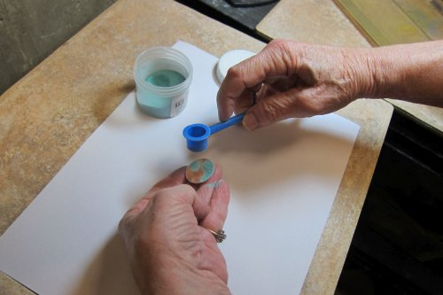 Karen Meador, Ph.D.'s Sifting Enamel onto a Curved Surface - , , , sifting enamel