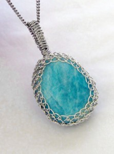 Dale Armstrong's Wrapping Cabochons - , Wire Jewelry Design, Wire Wrapping, Wrapping, Wire Wrapping Jewelry, Weaving, Wire Weaving, Weaving Wire, Design, , Amazonite pendant