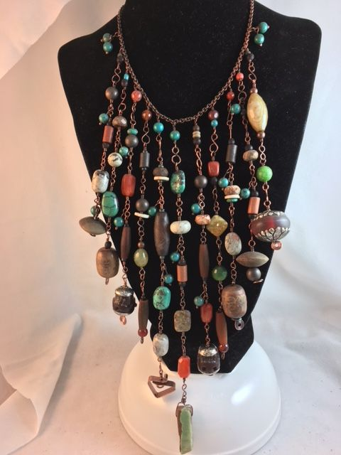 Karen Meador, Ph.D.'s Bead Soup Necklace - , General Education, Loops, Wire Loop, Wrapped Wire Loop, bead soup necklace