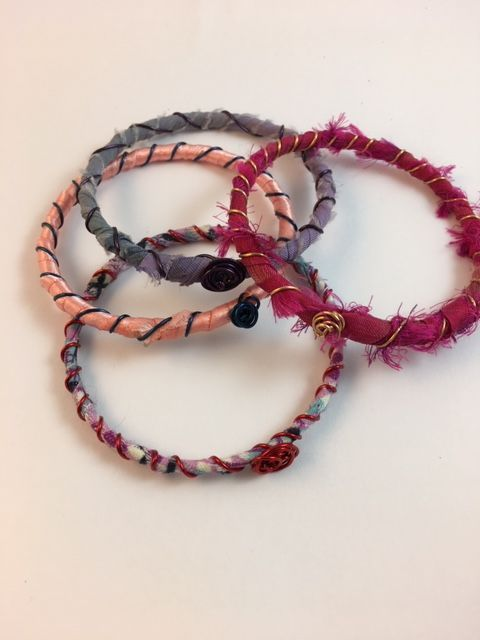 Karen Meador, Ph.D.'s Make a Necklace out of Boho Bangles - , Contemporary Wire Jewelry, Lashing, Wire Lashing, Wire Wrapping, Wrapping, Wire Wrapping Jewelry, boho bangles