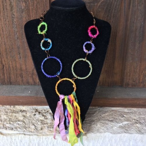 Karen Meador, Ph.D.'s Make a Necklace out of Boho Bangles - , Contemporary Wire Jewelry, Lashing, Wire Lashing, Wire Wrapping, Wrapping, Wire Wrapping Jewelry, boho bangle necklace