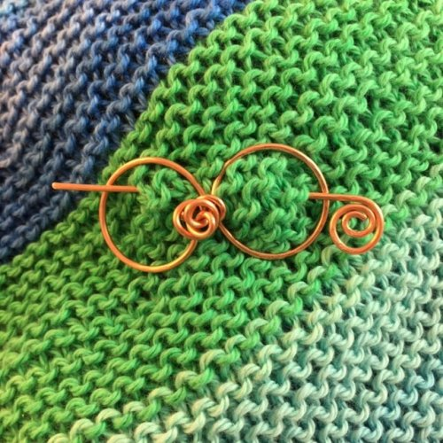 Karen Meador, Ph.D.'s Shawl pin from the Wire Roses Bracelet - , Contemporary Wire Jewelry, Coiling, Coiling Wire, Wire Coiling, shawl pin