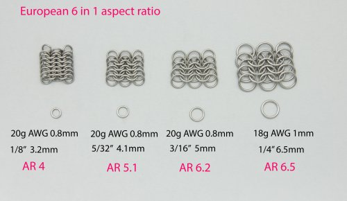 Kylie Jones's Aspect Ratio for European 6 in 1.  - , Chain Maille Jewelry, Making Chain, Chain Making , 6 in 1 aspect ratio