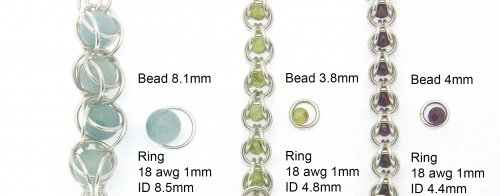 Kylie Jones's Ring and bead sizes for captured bead chain maille. - , Chain Maille Jewelry, Design, beads sizes for chain maille