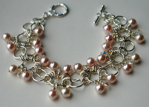 Sweet Peach Chainmaille Bracelet by Lena Bugrimenko