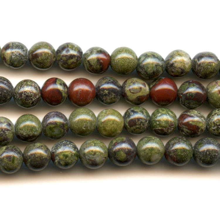 Dragon Blood Jasper 6mm Round Beads - 8 Inch Strand