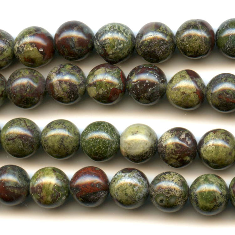 Dragon Blood Jasper 8mm Round Beads - 8 Inch Strand