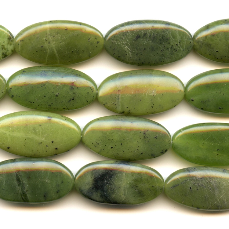 Jade 15x30mm Oval Beads - 8 Inch Strand
