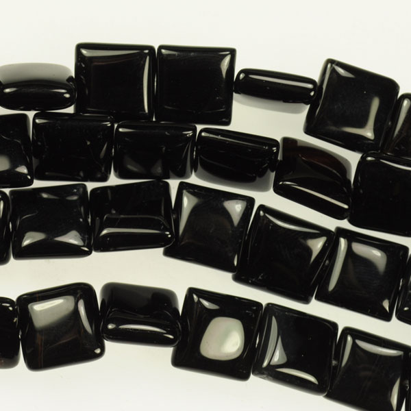 Onyx 12mm Square Beads - 8 Inch Strand