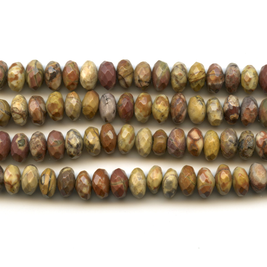 Bird's Eye Rhyolite 8mm Faceted Rondelle Beads - 8 Inch Strand