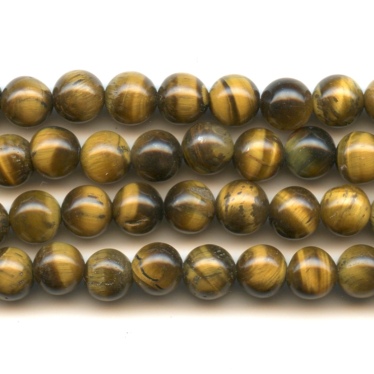 Tiger Eye 6mm Round Beads - 8 Inch Strand