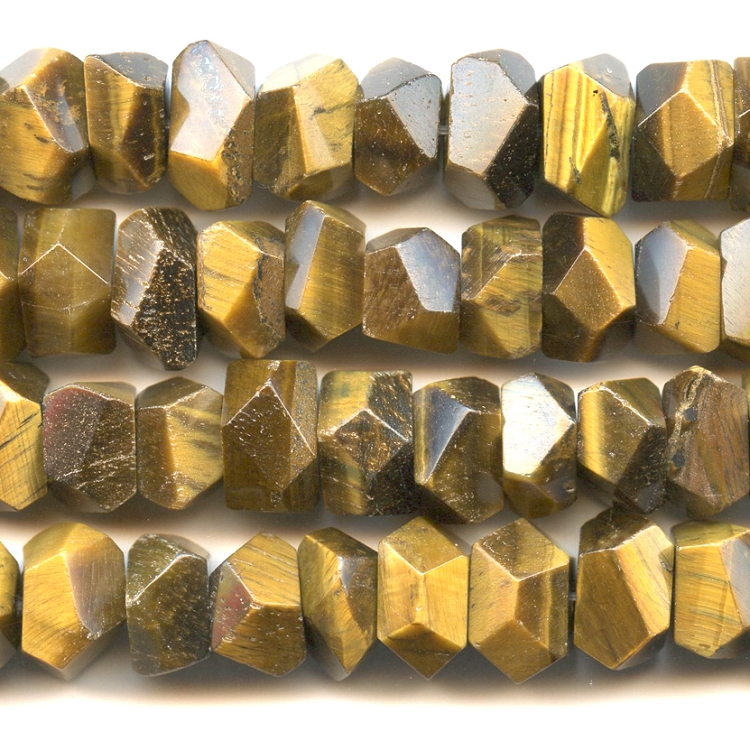 Tiger Eye 7x12mm Faceted Nugget Beads - 8 Inch Strand