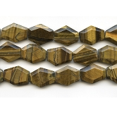 Tiger Eye 25x30mm Faceted Hexagon Beads - 8 Inch Strand