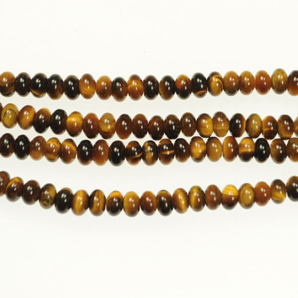 Tiger Eye 6mm Rondelle Beads - 8 Inch Strand
