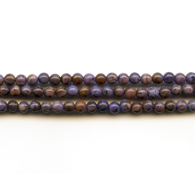 Purple Crazy Lace Agate 4mm Round Beads - 8 Inch Strand